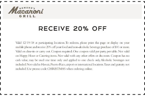 Macaroni Grill Coupon January 2020 20% off today at Macaroni Grill restaurants