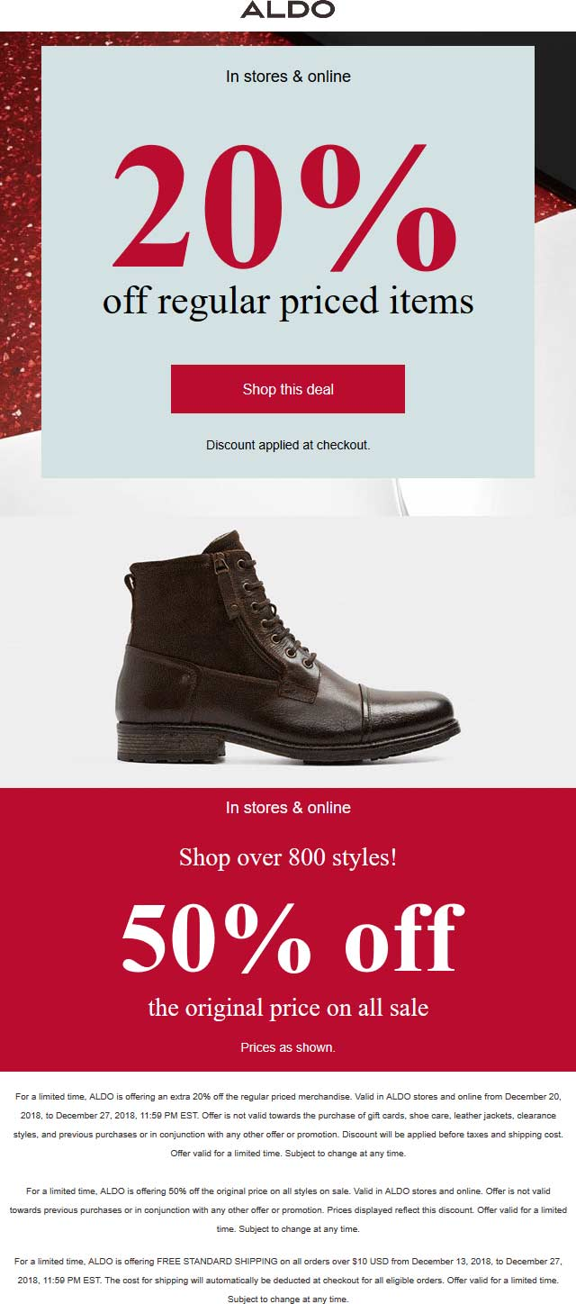 Aldo Coupon January 2020 20% off regular & 50% off sale items at Aldo, ditto online