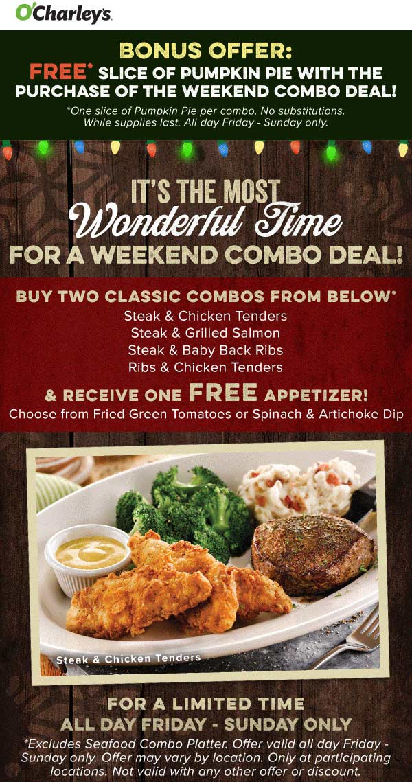 OCharleys Coupon July 2019 Free appetizer + pumpkin pie with your entrees at OCharleys