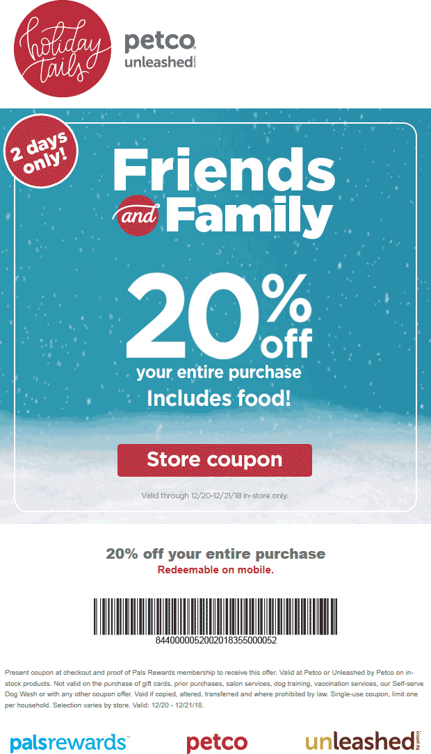 Petco Coupon November 2019 20% off at Petco