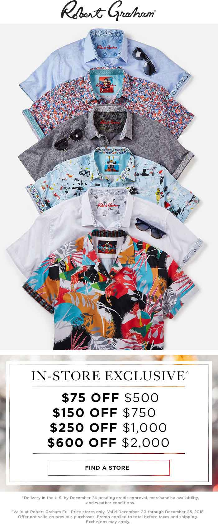 Robert Graham Coupon June 2019 $75 off $500 & more at Robert Graham