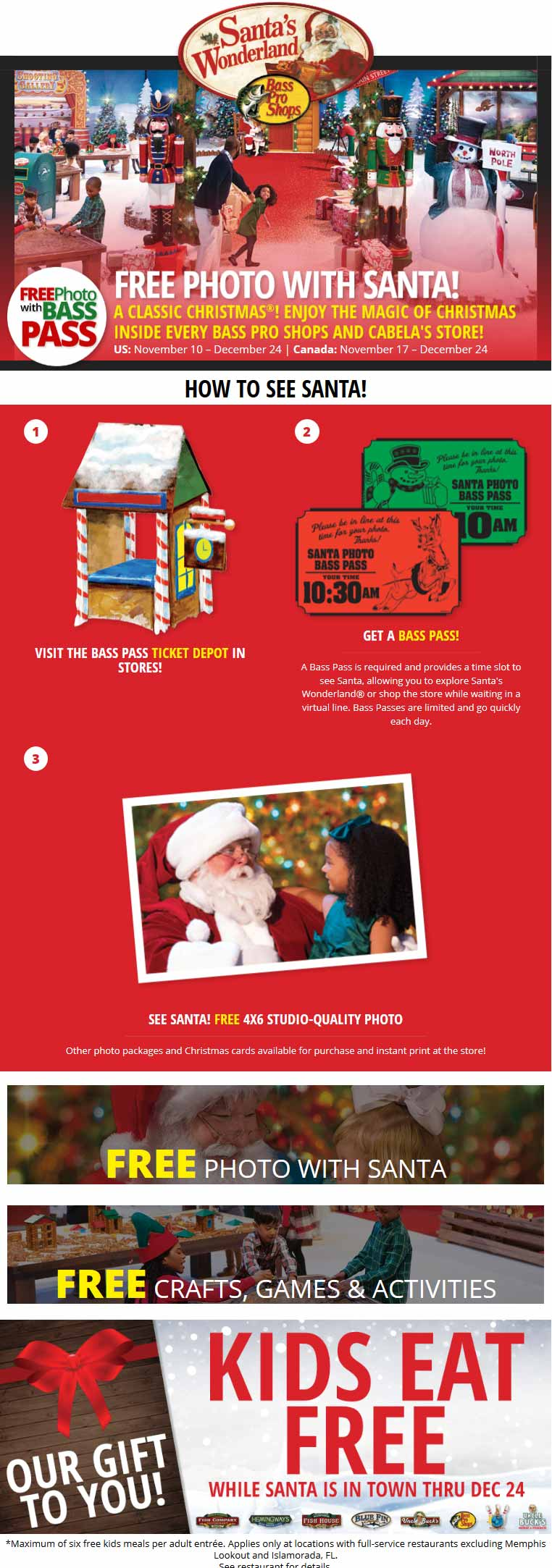 Bass Pro Shops Coupon December 2019 Free photo with Santa + kids eat free at Bass Pro Shops