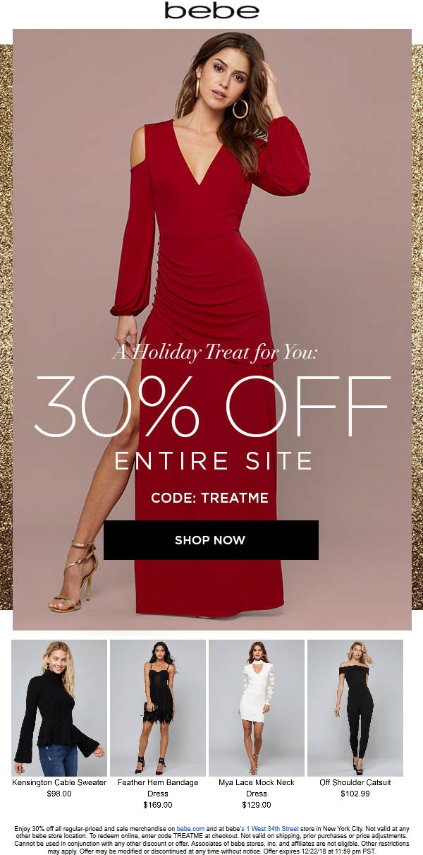 Bebe Coupon October 2019 30% off at bebe, or online via promo code TREATME