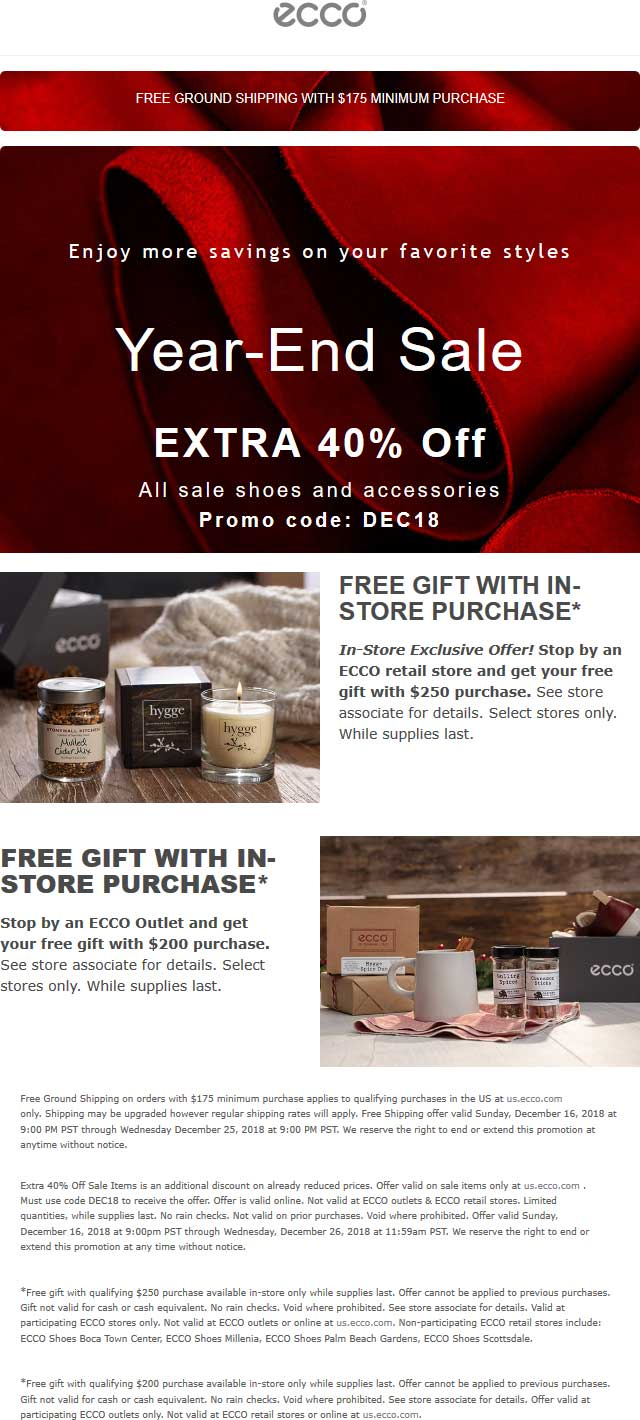 ECCO Coupon November 2019 Extra 40% off sale items online at ECCO via promo code DEC18