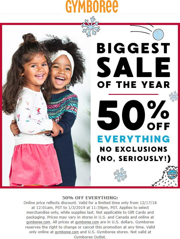 Gymboree Coupon November 2019 50% off everything at Gymboree, ditto online