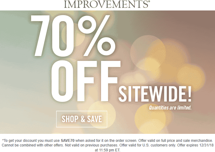 Improvements Coupon November 2019 70% off everything at Improvements catalog via promo code SAVE70