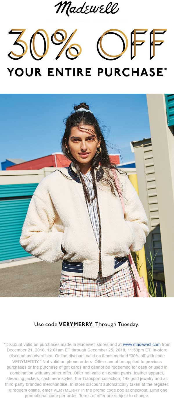 Madewell Coupon November 2019 30% off at Madewell, ditto online