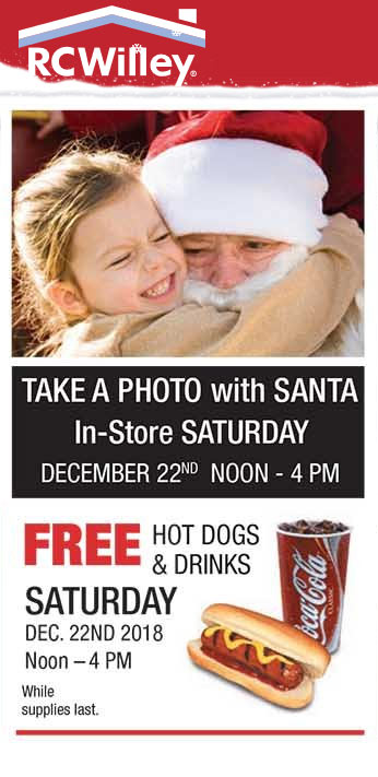 RC Willey Coupon May 2019 Free hot dog, drinks & photo with Santa Saturday 12-4p at RC Willey