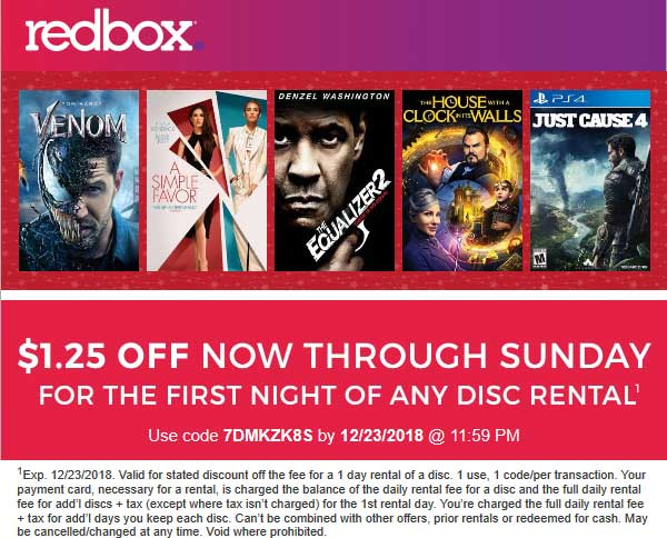 Redbox Coupon July 2019 $1.25 off at Redbox via promo code 7DMKZK8S