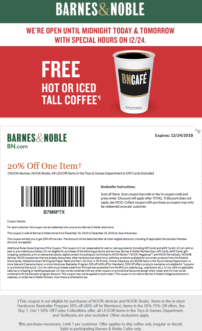 Barnes & Noble Coupon May 2019 Free coffee + 20% off a single item at Barnes & Noble
