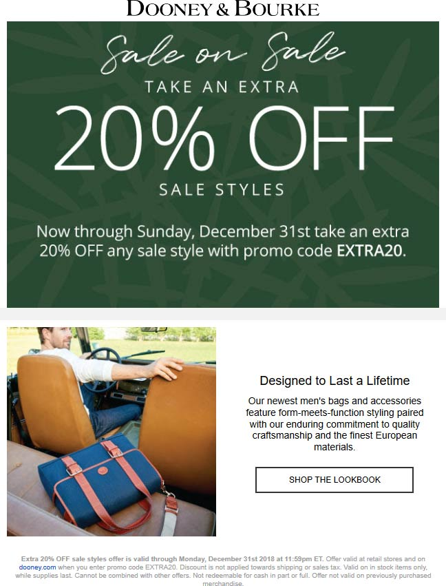Dooney & Bourke Coupon November 2019 Extra 20% off sale items at Dooney & Bourke, or online via promo code EXTRA20