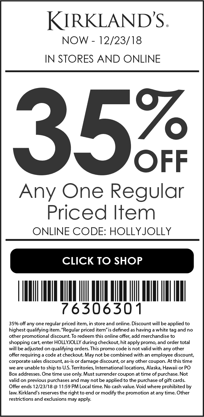 Kirklands Coupon January 2020 35% off a single item at Kirklands, or online via promo code HOLLYJOLLY