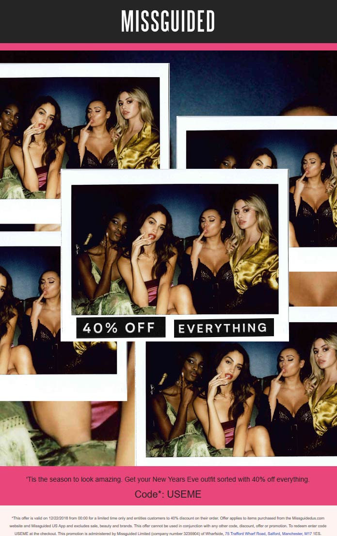 Missguided Coupon January 2020 40% off everything at Missguided via promo code USEME