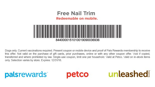 Petco Coupon August 2019 Free dog nail trim at Petco