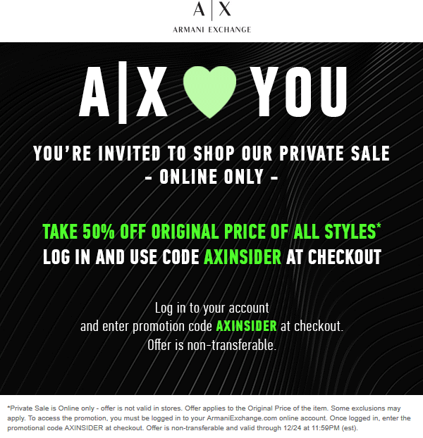 ArmaniExchange.com Promo Coupon 50% off online at Armani Exchange via promo code AXINSIDER