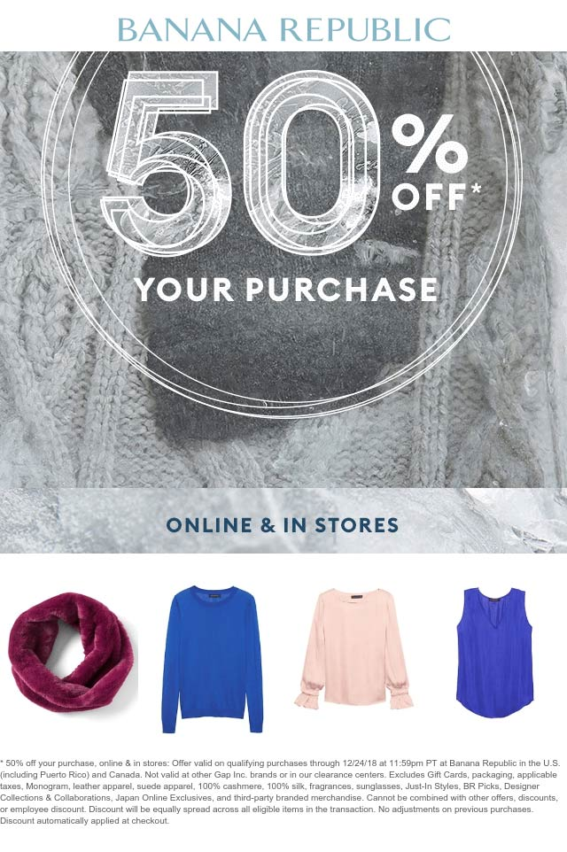 Banana Republic Coupon August 2019 50% off at Banana Republic, ditto online