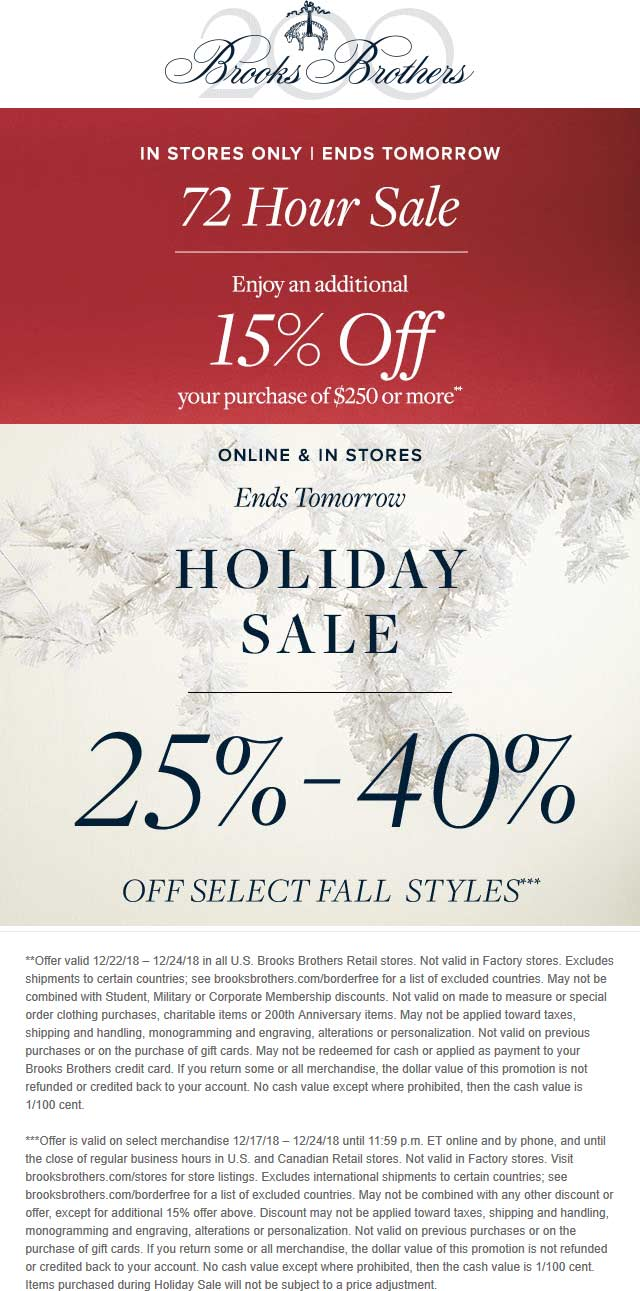Brooks Brothers Coupon November 2019 15% off $250 & more at Brooks Brothers