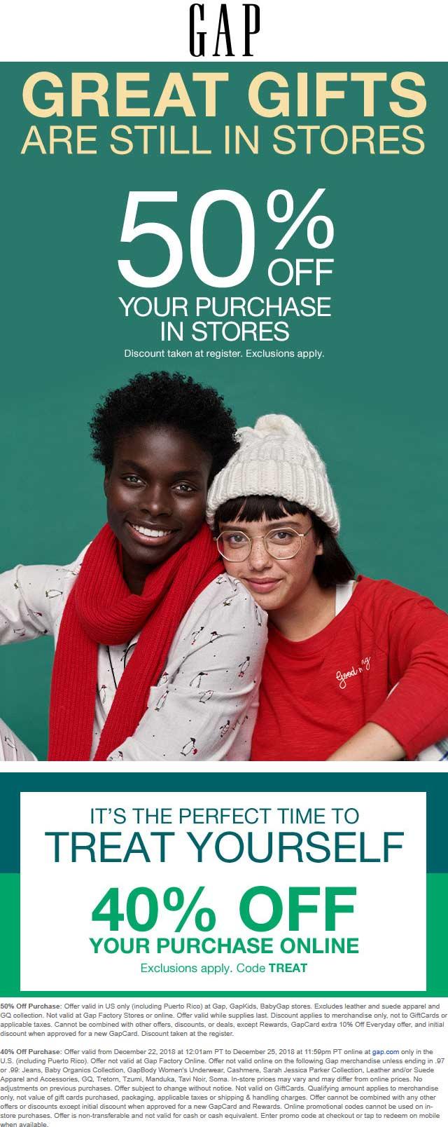 Gap Coupon January 2020 50% off at Gap, or 40% online via promo code TREAT