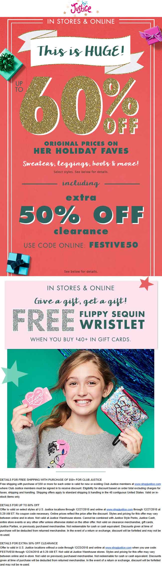 Justice Coupon January 2020 Extra 50% off clearance & more today at Justice, or online via promo code FESTIVE50