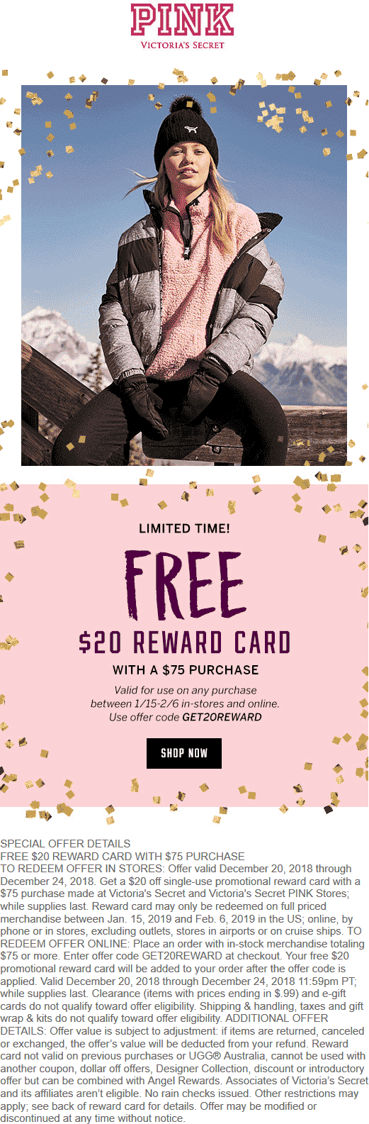 Victorias Secret Coupon May 2019 Free $20 card with $75 spent at Victorias Secret PINK, or online via promo code GET20REWARD