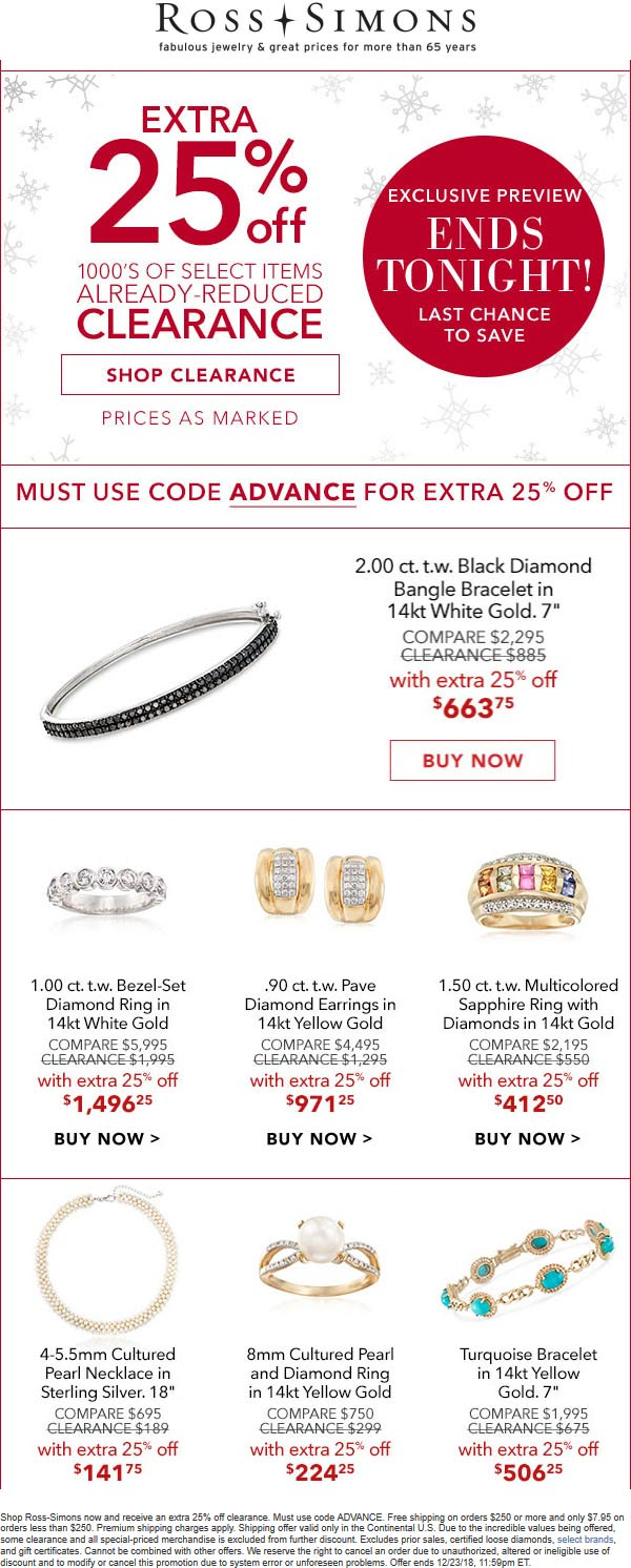 Ross Simons Coupon May 2019 Extra 25% off clearance online today at Ross Simons jewelers via promo code ADVANCE