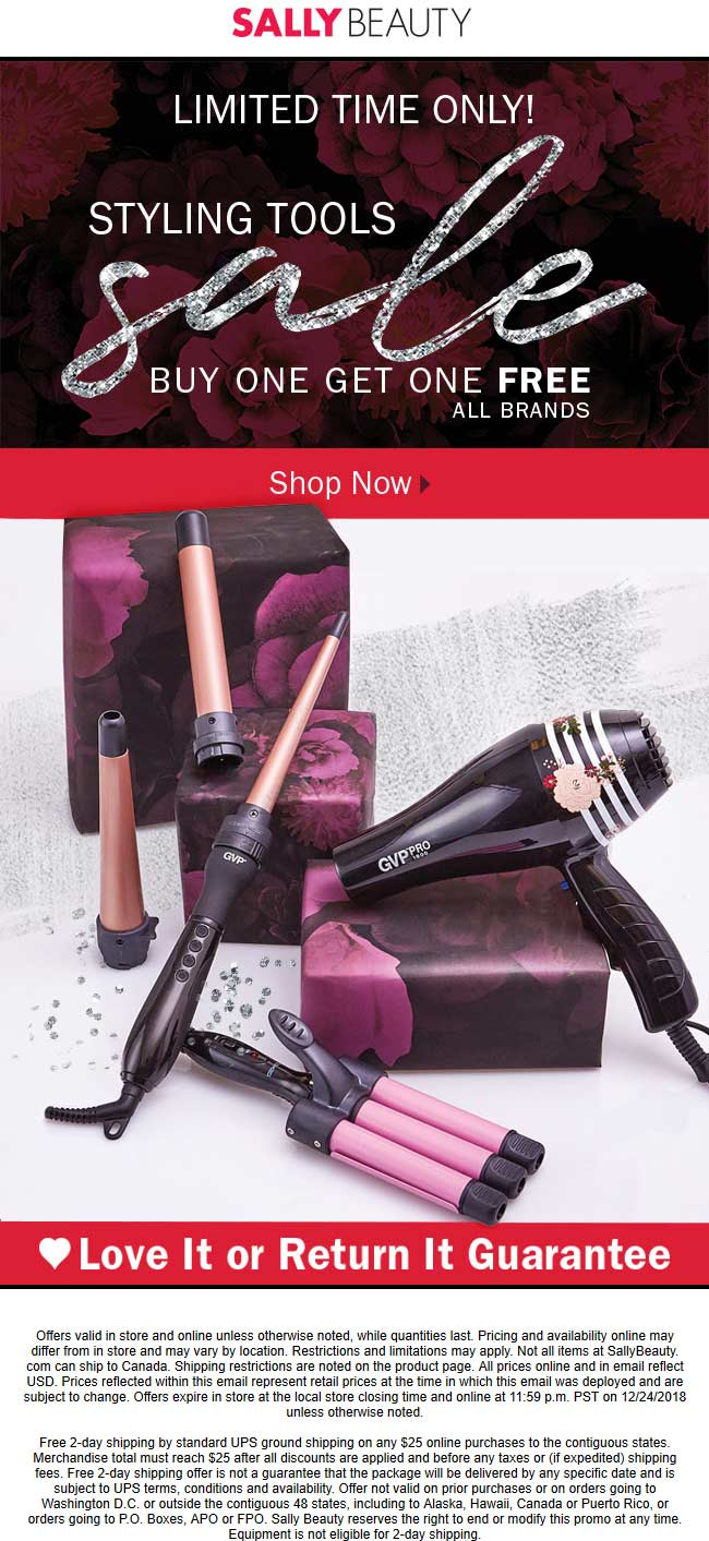 Sally Beauty Coupon August 2019 Second styling tool free at Sally Beauty, ditto online