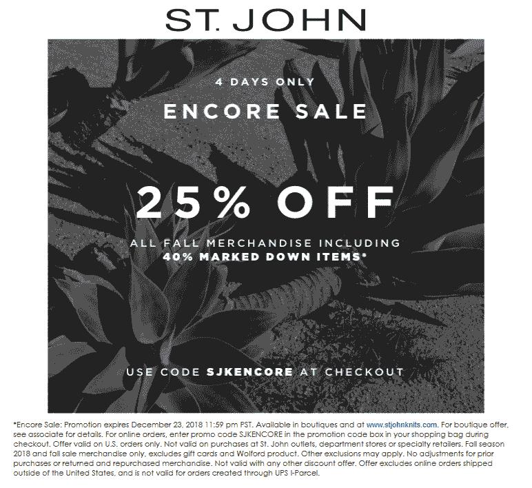 St. John Coupon January 2020 25-65% off fall merch today at St. John, or online via promo code SJKENCORE