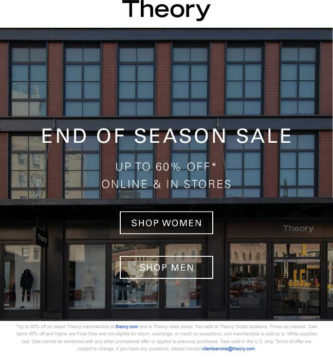 Theory Coupon August 2019 60% off sale going on at Theory, ditto online
