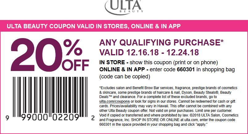Ulta Coupon January 2020 20% off at Ulta Beauty, or online via promo code 660301