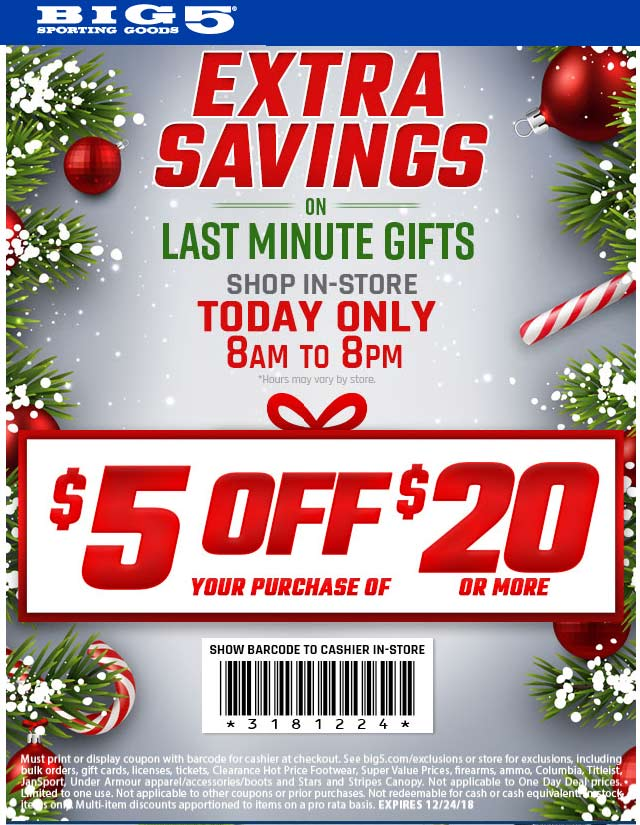 Big 5 Coupon July 2019 $5 off $20 today til 8pm at Big 5 sporting goods