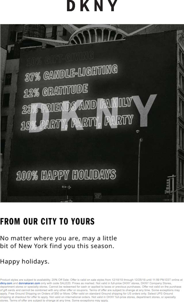 DKNY Coupon November 2019 20% off sale items online at DKNY via promo code SALE20