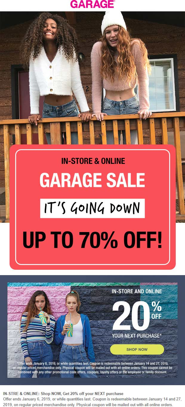 Garage Coupon September 2019 20% off at Garage, ditto online