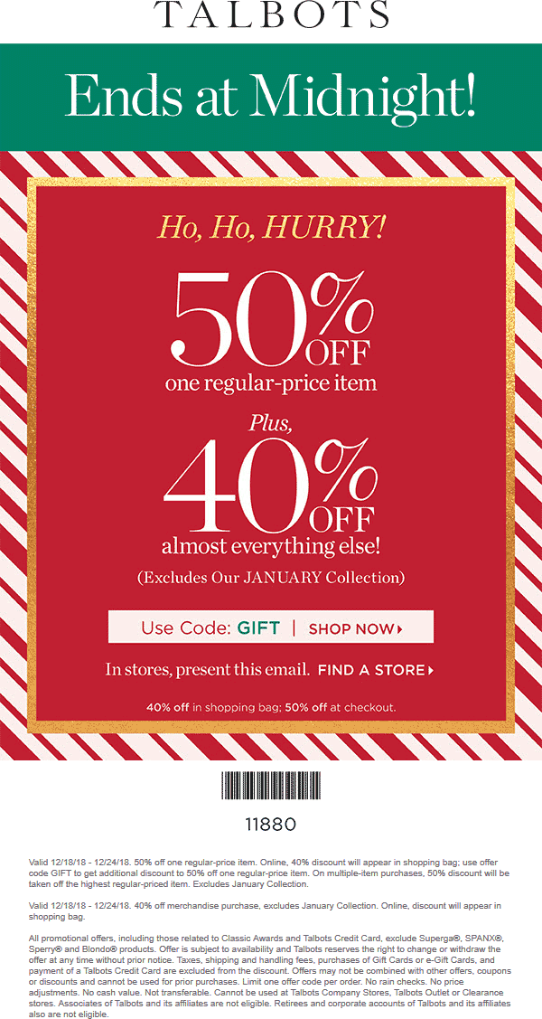 Talbots Coupon November 2019 50% off a single item today at Talbots, or online via promo code GIFT