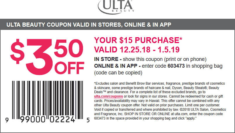 Ulta Coupon January 2020 $3.50 off $15 at Ulta Beauty, or online via promo code 603473