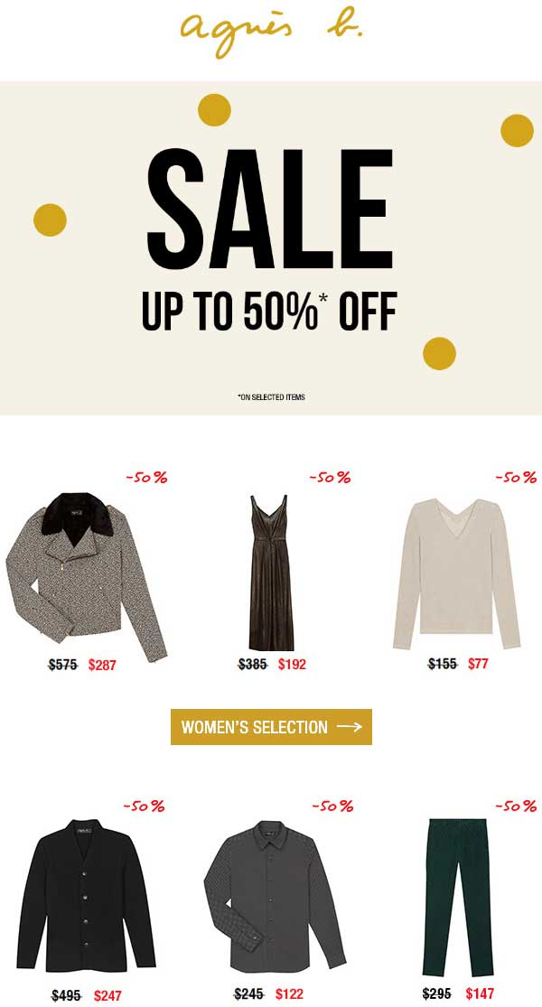 agnes b. Coupon January 2020 50% off at agnes b., ditto online