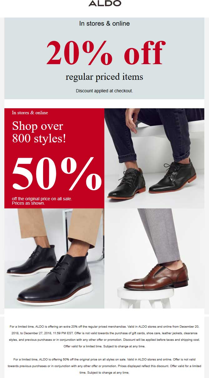 Aldo Coupon August 2019 20% off & more at ALDO, ditto online