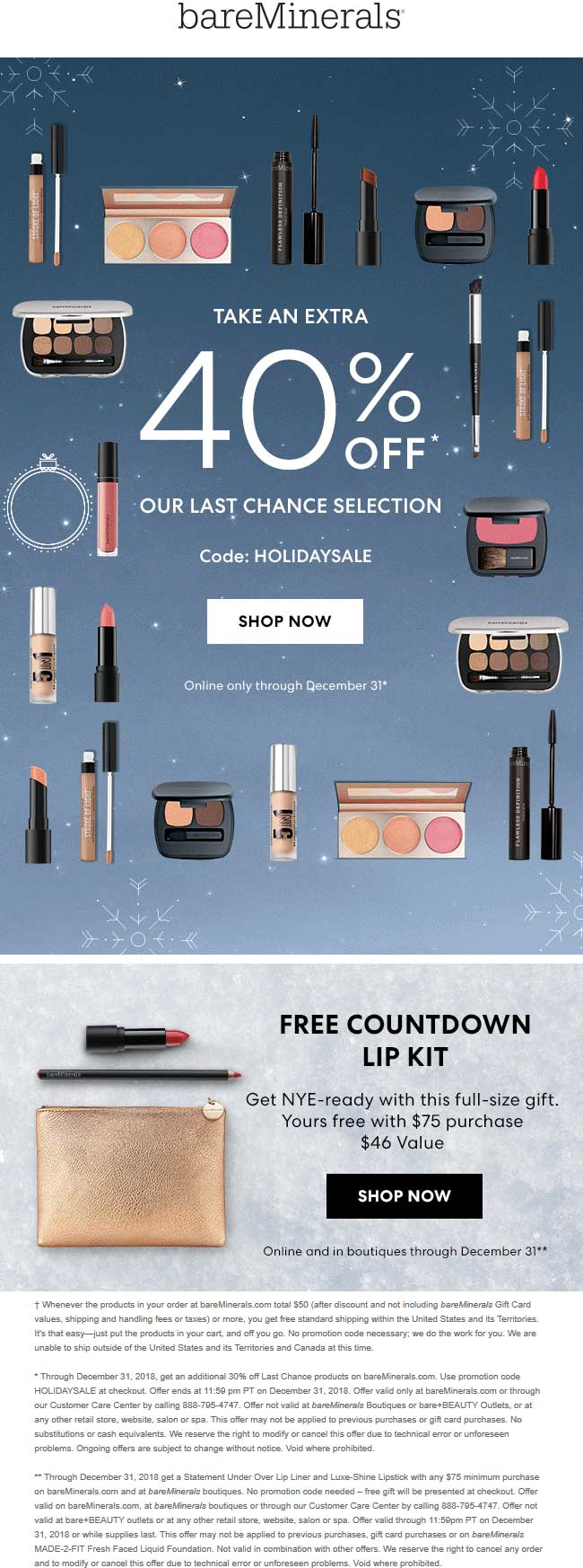 bareMinerals Coupon January 2020 40% off online at bareMinerals via promo code HOLIDAYSALE
