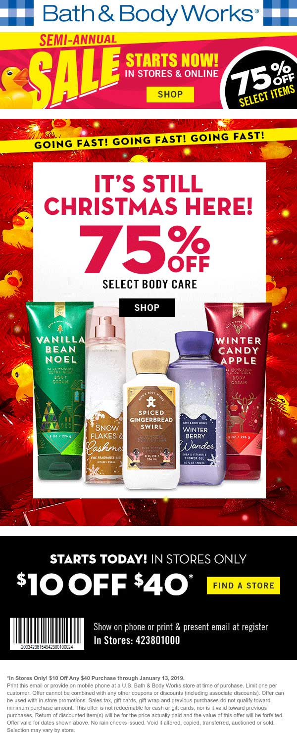 Bath & Body Works Coupon November 2019 $10 off $40 at Bath & Body Works