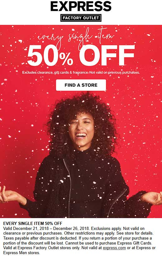 Express Factory Outlet Coupon May 2019 50% off everything today at Express Factory Outlet