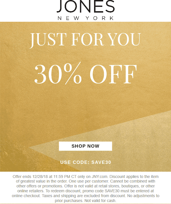 Jones New York Coupon July 2019 30% off a single item online at Jones New York via promo code SAVE30