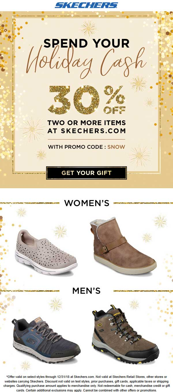 Skechers Coupon November 2019 30% off a couple items online at Skechers via promo code SNOW