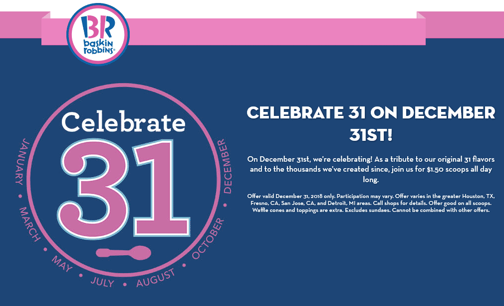 Baskin Robbins Coupon May 2019 $1.50 ice cream scoops Monday at Baskin Robbins