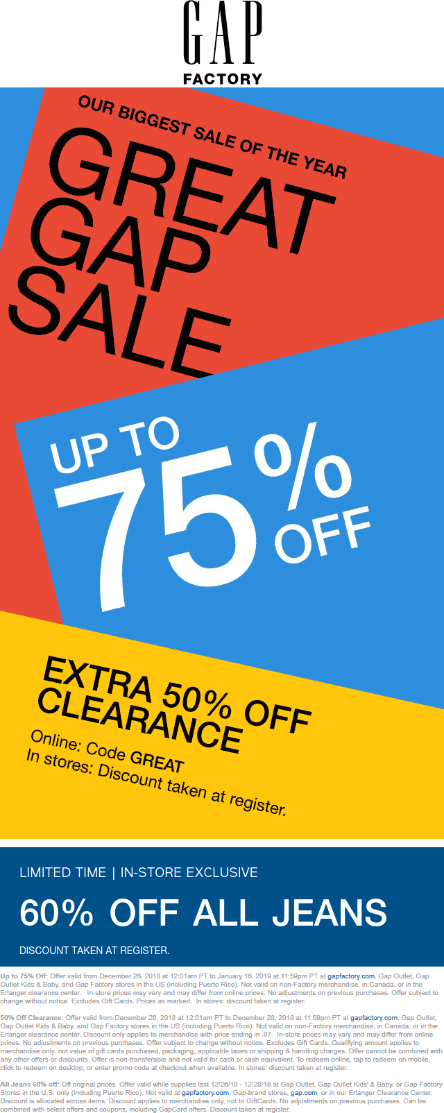 Gap Factory Coupon July 2019 Extra 50% off clearance & more at Gap Factory, or online via promo code GREAT