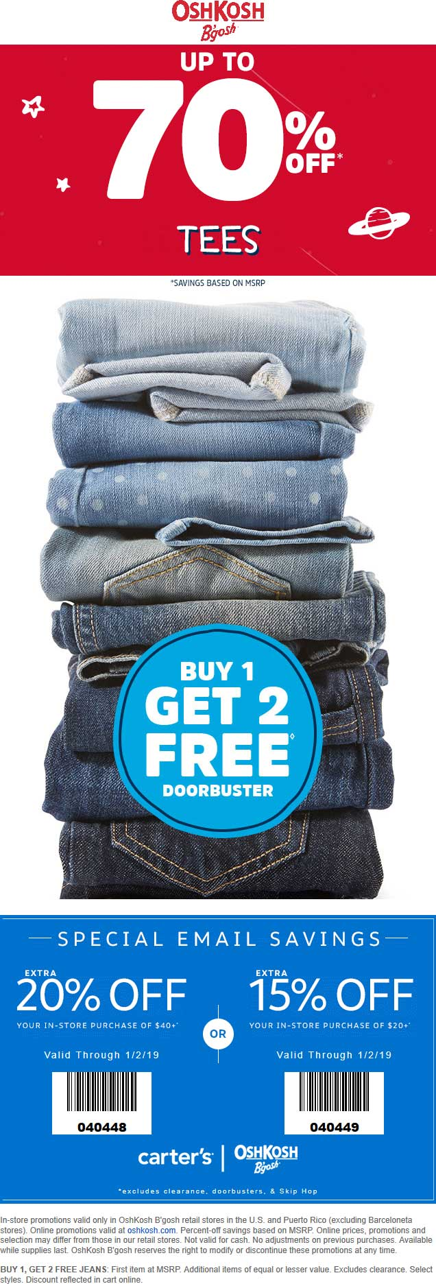 OshKosh Bgosh Coupon May 2019 3-for-1 on jeans + 15-20% off at OshKosh Bgosh