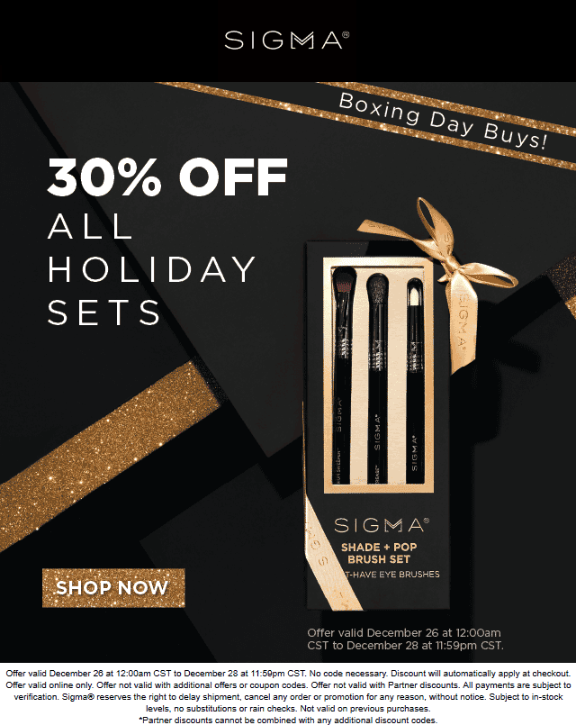 Sigma Beauty Coupon June 2019 Extra 30% off sets online at Sigma Beauty
