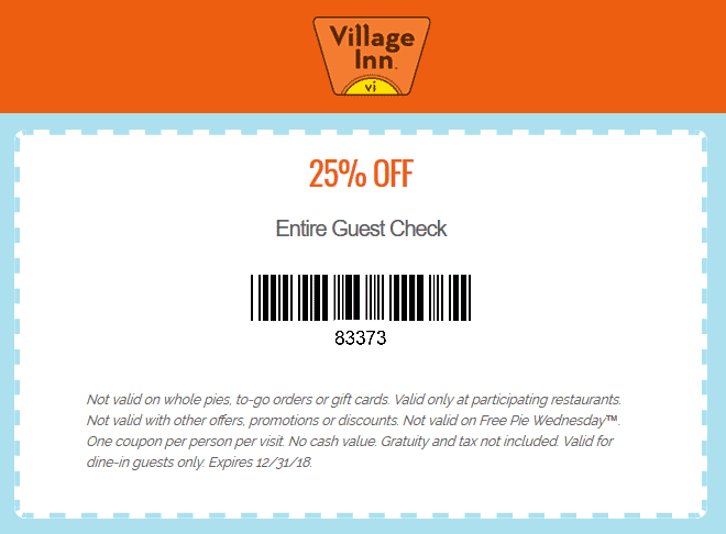 Village Inn Coupon January 2020 25% off at Village Inn restaurants