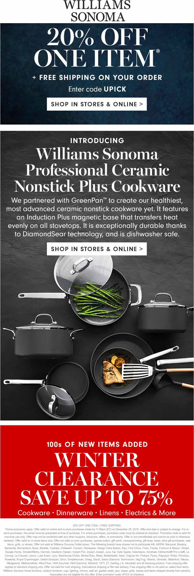 Williams Sonoma Coupon July 2019 20% off a single item at Williams Sonoma, or online via promo code UPICK