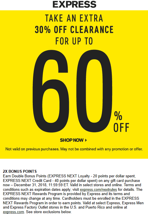 Express Coupon October 2019 Extra 30% off clearance at Express, ditto online