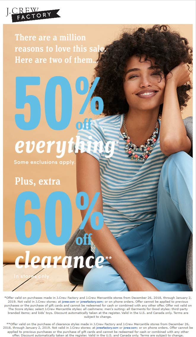 J.Crew Factory Coupon November 2019 50% off everything at J.Crew Factory