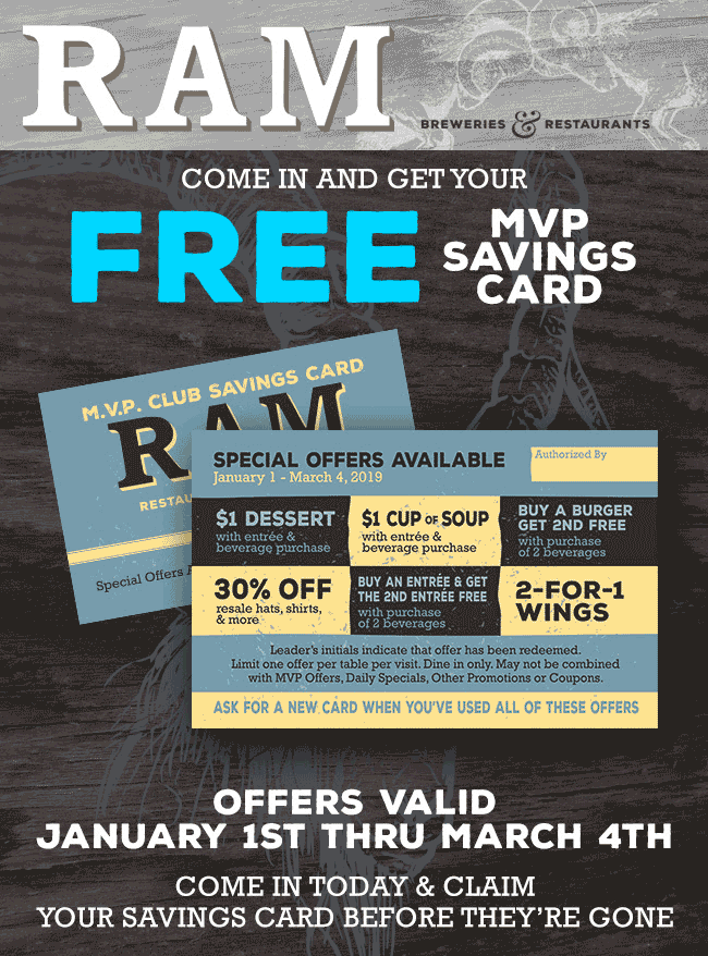 RAM Coupon May 2019 Second burger or wings free & more at RAM restaurants
